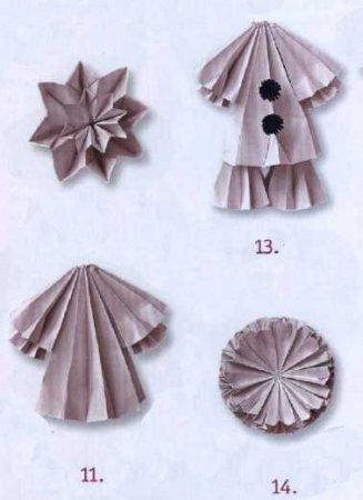 Мальвина и Пьеро из модулей оригами