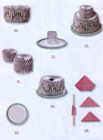 11. Верхний ярус торта выполняйте точно так же, как нижний, только...  10 . Наденьте на каждый зеленый модуль по...