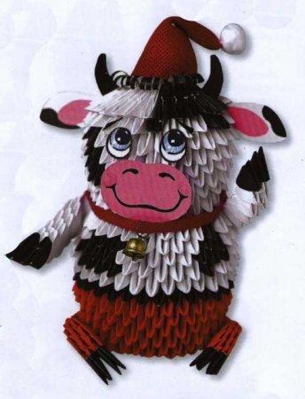 Бычок сделаный модулями оригами надел брючки и колпачок красного цвета, потому что собрался на новогоднюю ёлку.