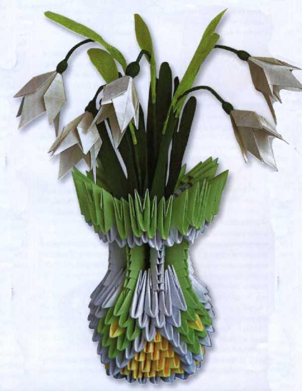 Модульное оригами ваза с подснежниками