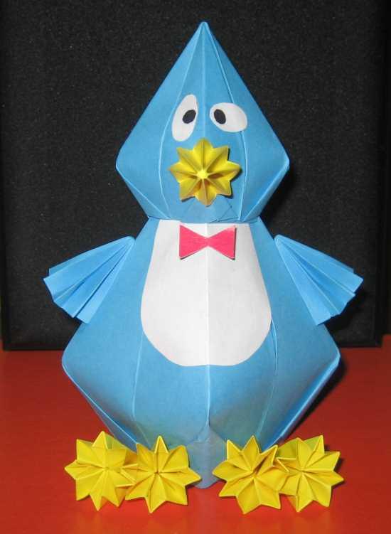 Пингвин из оригами из модулей