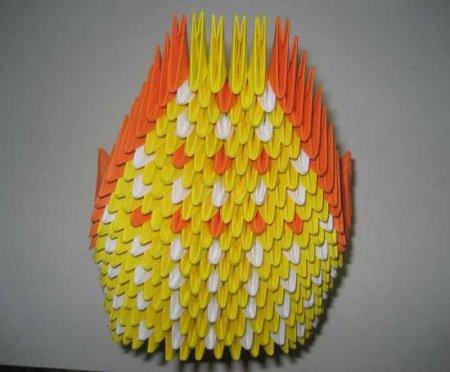 оригами модульное оранжеввй слон
