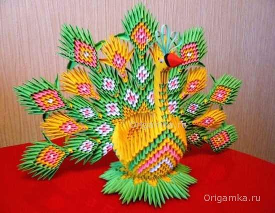 Оригами пошаговая фото схема павлин