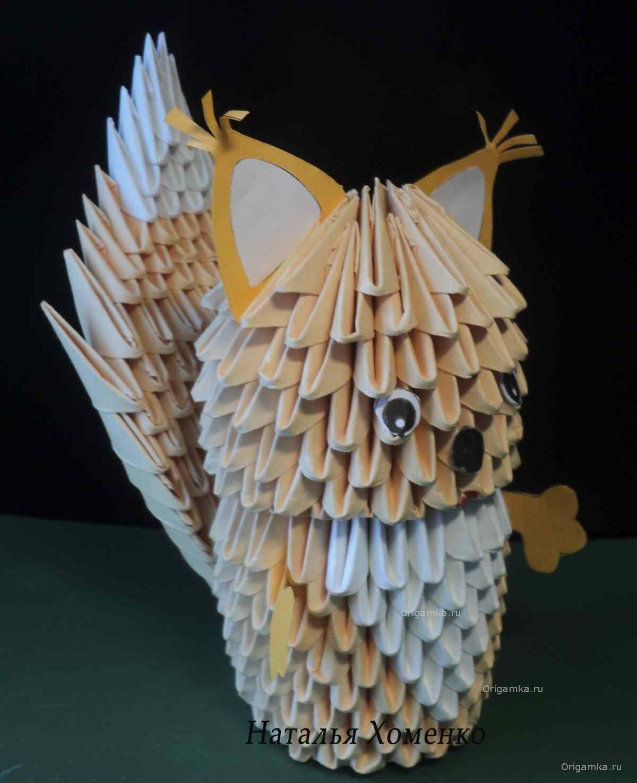 оригами сова из модулей сова схема