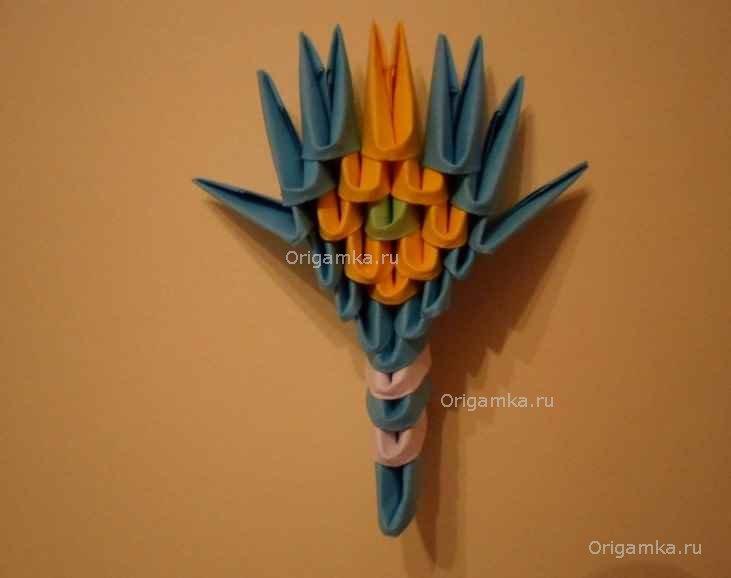 Схема сборки модульное оригами царевна лебедь