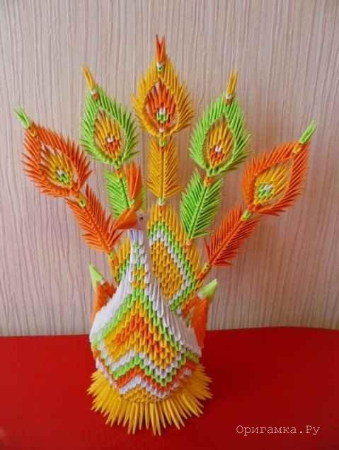 модульное схема птица оригами жар