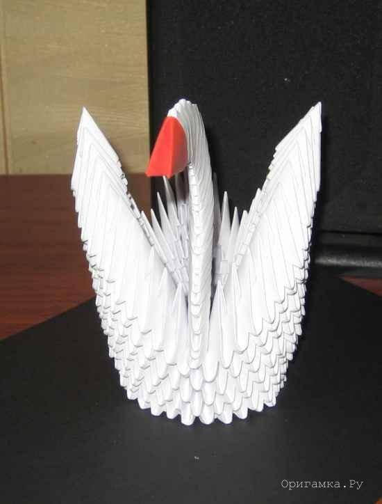 Как сделать лебедя из бумаги пошаговая инструкция фото 828
