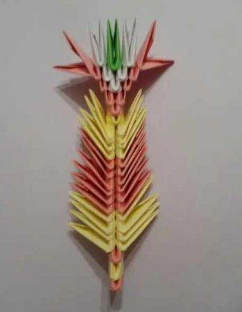 Модульное оригами «Розовый павлин»