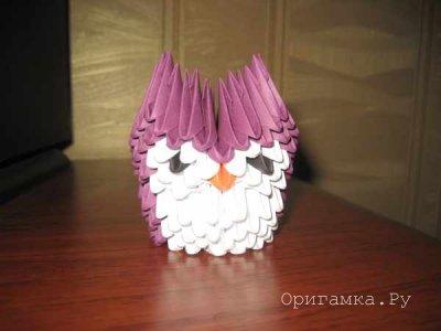 Модульное оригами «Сова малышка»