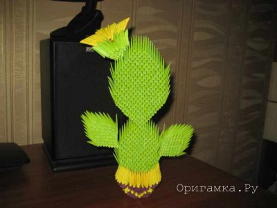 Модульное оригами «Кактус в горшочке»