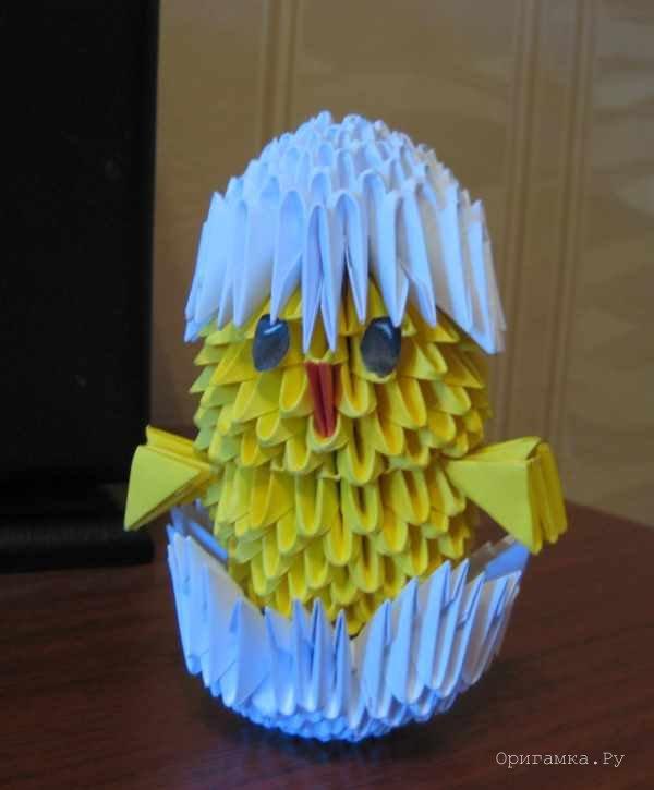 Модульное оригами схема сборки цыплёнка
