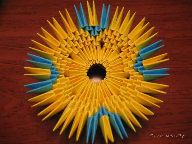 Модульное оригами радужная ваза схема сборки
