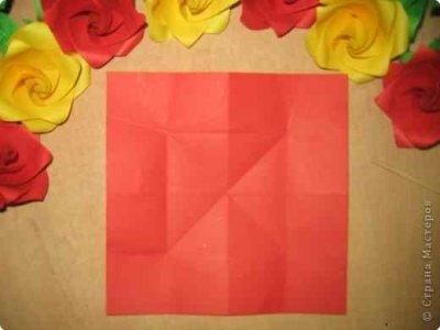 Оригами роза из бумаги. Мастер-класс