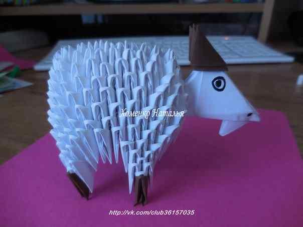 Как сделать оригами собаку из модулей