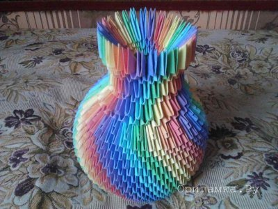 Модульное оригами «Радужная ваза» - автор Сергей <u>инструкцией</u> Саквенков
