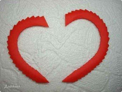 Рамочка «Сердечко» из треугольных модулей