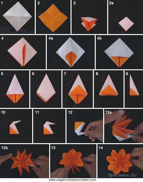 Оригами цветы из бумаги пошаговой инструкции фото