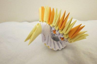Модульное оригами «Павлин с распущенным хвостом»